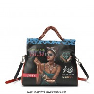 LA16115 LATOYA LOVES WHO SHE IS DOUBLE STRAP SHOULDER BAG
